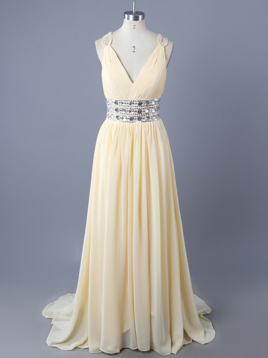 White A-line New Arrival Chiffon Crystal Detailing Open Back V-neck Prom Dresses #LDB02011708