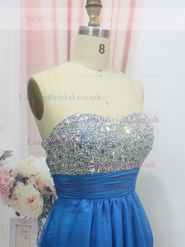 Sweetheart Chiffon Crystal Detailing Floor-length Royal Blue Juniors Prom Dress #LDB020100563