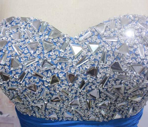 Sweetheart Chiffon Crystal Detailing Floor-length Royal Blue Juniors Prom Dress #LDB020100563