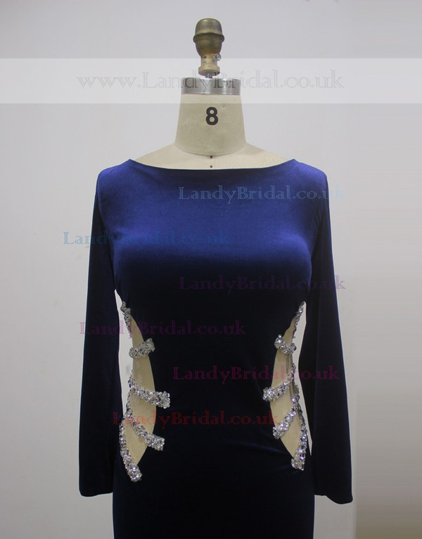 Scoop Neck Royal Blue Jersey Pearl Detailing Long Sleeve Sheath/Column Prom Dresses #LDB020100566
