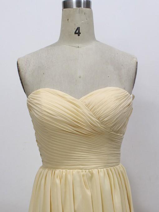 Simple Sweetheart Light Yellow Chiffon Ruffles A-line Prom Dresses #LDB020100567