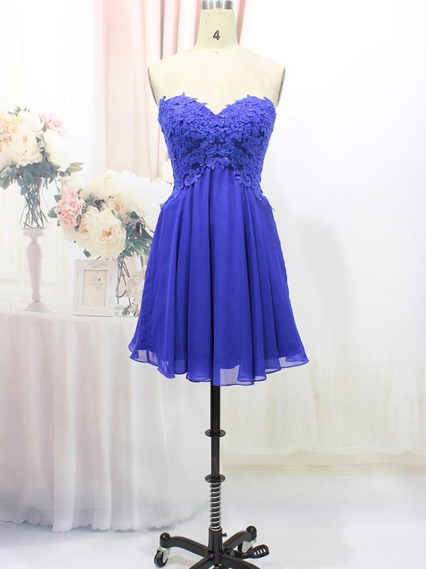 Perfect Royal Blue Chiffon Sweetheart Appliques Lace Short/Mini Prom Dresses #LDB020100575