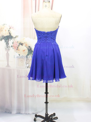 Perfect Royal Blue Chiffon Sweetheart Appliques Lace Short/Mini Prom Dresses #LDB020100575