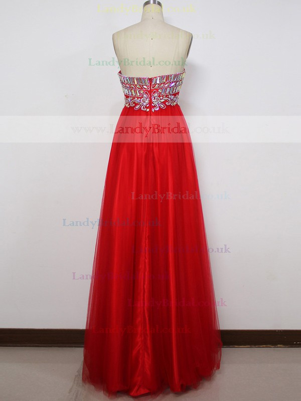Empire Red Tulle Crystal Detailing Sweetheart Discounted Prom Dress #LDB020100576