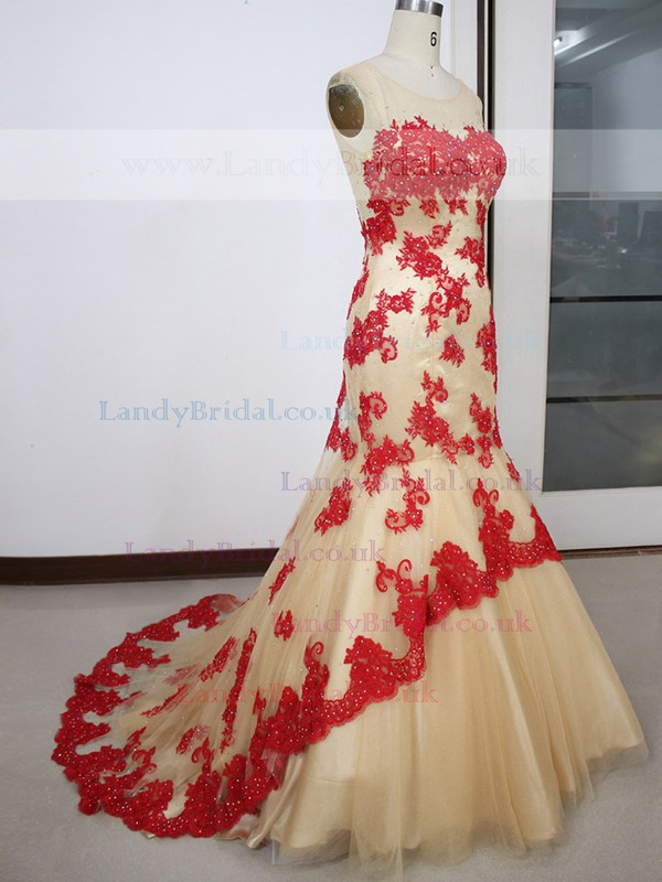 Different Champagne Tulle with Appliques Lace Scoop Neck Trumpet/Mermaid Prom Dress #LDB020100578