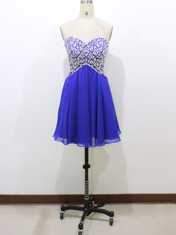 Cute Sweetheart Ruffles Short/Mini Royal Blue Lace Chiffon Prom Dresses #LDB020100581