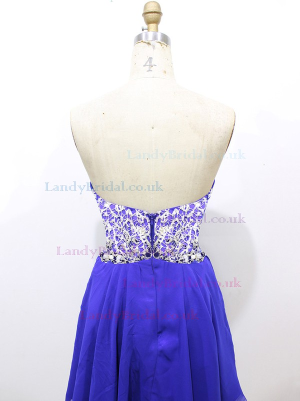 Cute Sweetheart Ruffles Short/Mini Royal Blue Lace Chiffon Prom Dresses #LDB020100581