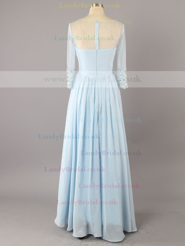 A-line Chiffon V-neck Floor-length Beading Mother of the Bride Dresses #LDB01021417
