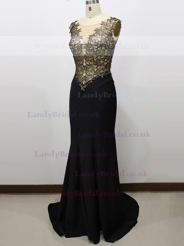 Scoop Neck Black Tulle Elastic Woven Satin Cap Straps Appliques Lace Trumpet/Mermaid Prom Dress #LDB020100584