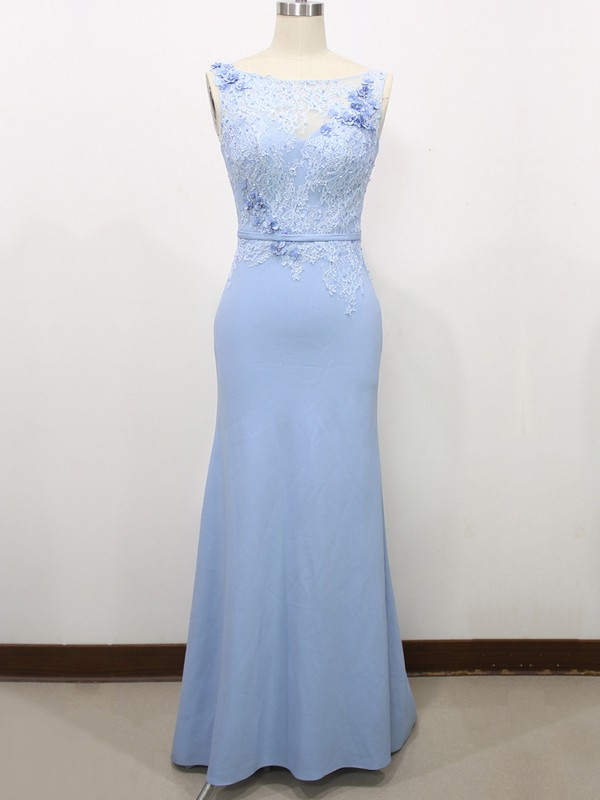 Trumpet/Mermaid Flower(s) Light Sky Blue Lace Tulle Silk-like Satin Scoop Neck Prom Dresses #LDB020100585