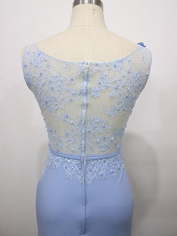 Trumpet/Mermaid Flower(s) Light Sky Blue Lace Tulle Silk-like Satin Scoop Neck Prom Dresses #LDB020100585