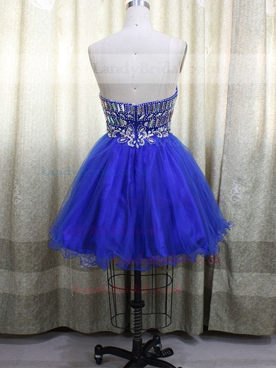 Simple Short/Mini Tulle with Crystal Detailing Sweetheart Prom Dresses #LDB020100590