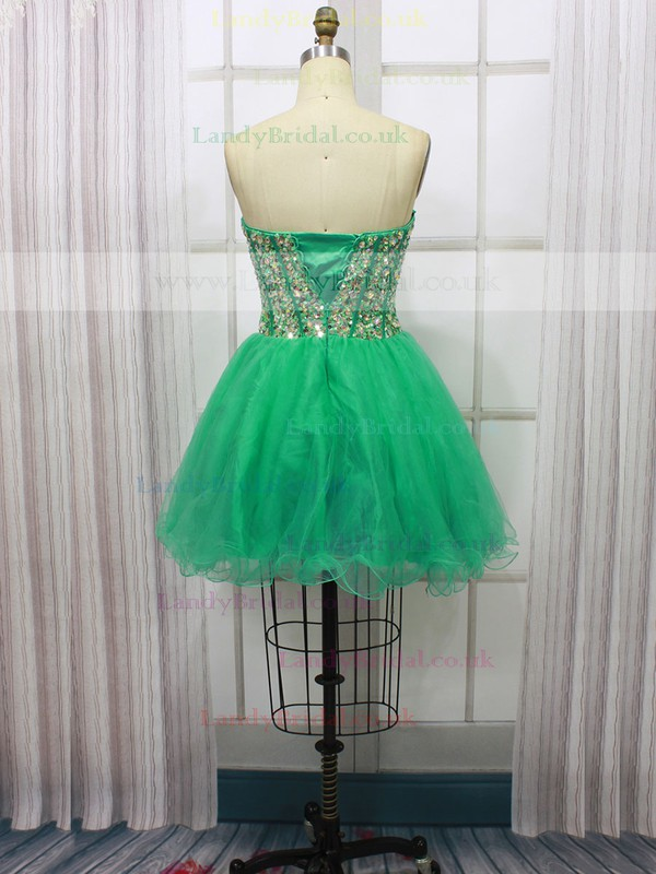 Green Short/Mini Tulle with Sequins Affordable Sweetheart Prom Dresses #LDB020100591