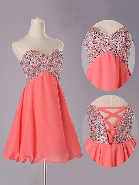 Great Short/Mini Sweetheart Chiffon Lace-up Beading Royal Blue Prom Dress #LDB02016819