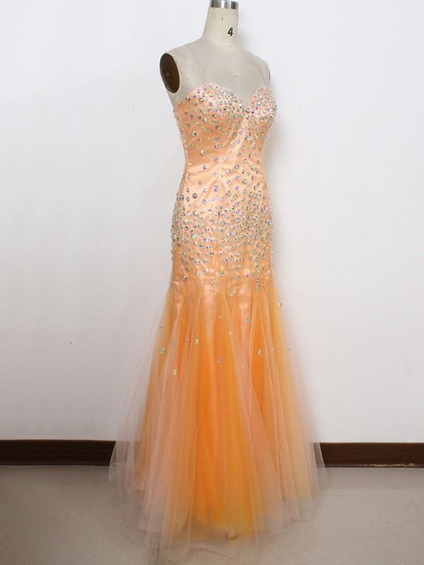 Beautiful Trumpet/Mermaid Orange Tulle with Crystal Detailing Sweetheart Prom Dresses #LDB020100593
