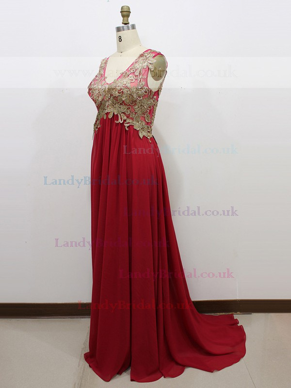 V-neck Open Back Claret Chiffon Tulle with Appliques Lace Empire Prom Dress #LDB020100602