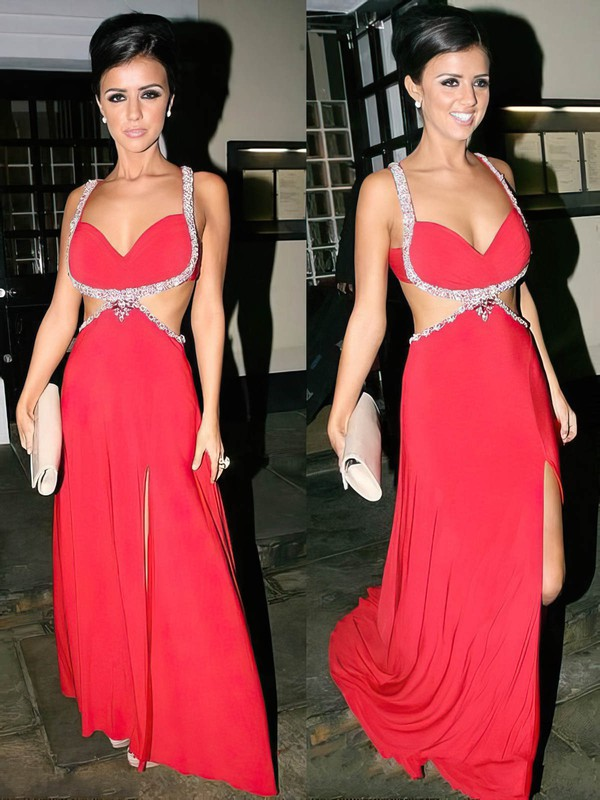 Amazing Red V-neck Silk-like Satin with Beading Split Front Prom Dresses #LDB02016836