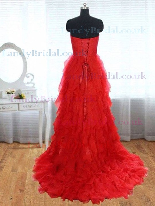 Sweetheart Red Cascading Ruffles Tulle Lace-up Latest Prom Dresses #LDB02016839