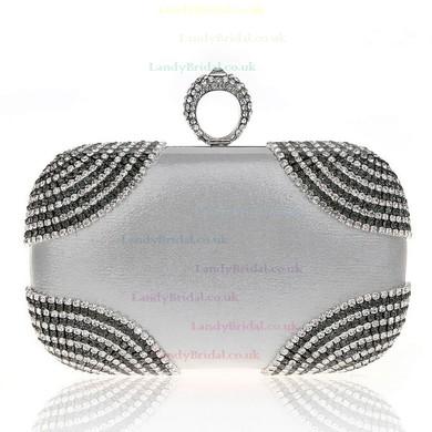 Silver Polyester Ceremony&Party Crystal/ Rhinestone Handbags #LDB03160009