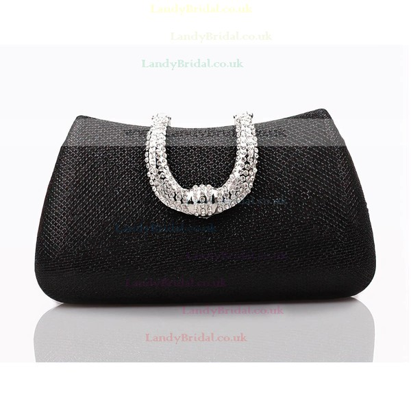 Black PU Ceremony&Party Crystal/ Rhinestone Handbags