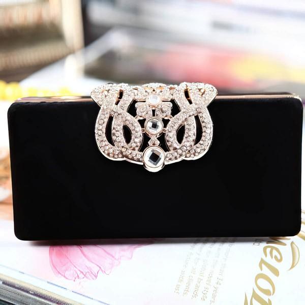 Black Velvet Ceremony&Party Crystal/ Rhinestone Handbags