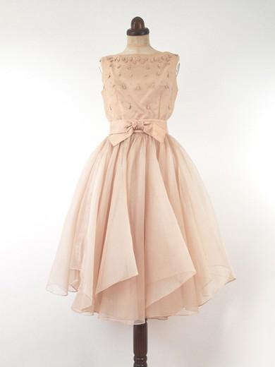 Knee-length Light Sky Blue Sashes/Ribbons Chiffon Scoop Neck Famous Prom Dresses #LDB02016885