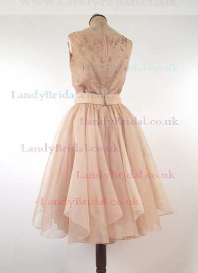 Knee-length Light Sky Blue Sashes/Ribbons Chiffon Scoop Neck Famous Prom Dresses #LDB02016885
