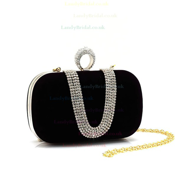 Black Velvet Wedding Crystal/ Rhinestone Handbags