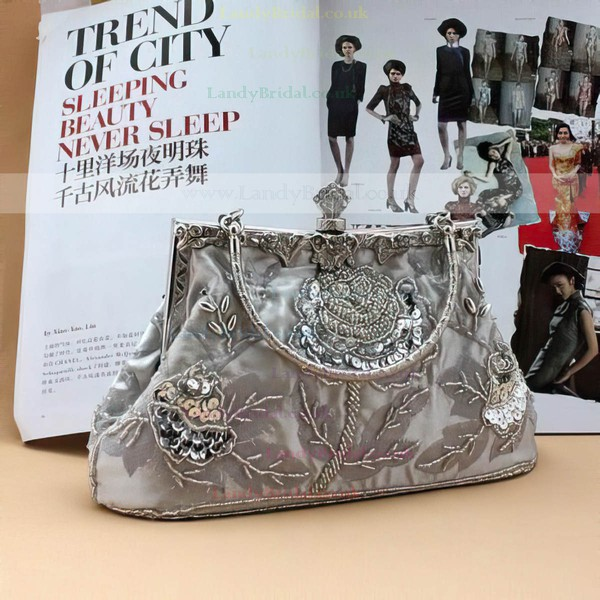 Silver Satin Ceremony&Party Imitation Pearl Handbags