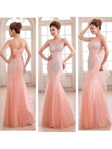 Ladies Pink Tulle Scoop Neck Open Back Crystal Detailing Trumpet/Mermaid Prom Dress #LDB02016892