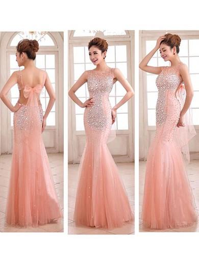 Ladies Pink Tulle Scoop Neck Open Back Crystal Detailing Trumpet/Mermaid Prom Dress #LDB02016892