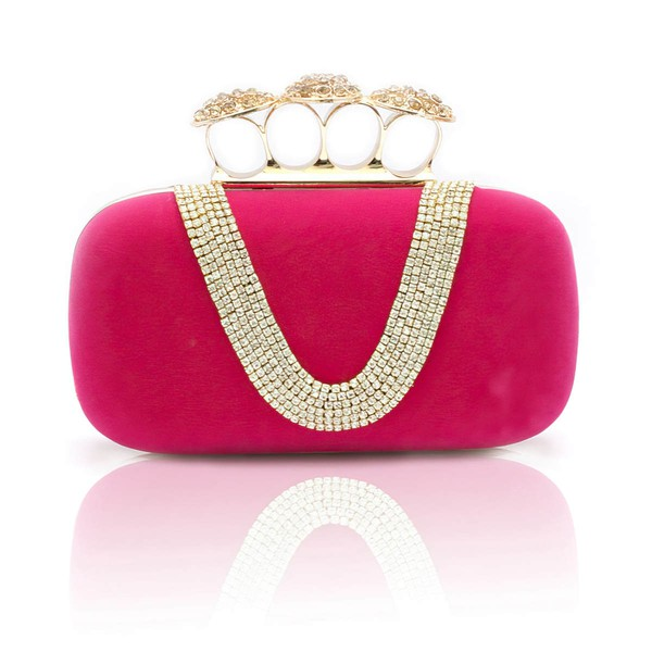 Apricot Velvet Ceremony&Party Crystal/ Rhinestone Handbags #LDB03160039