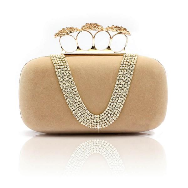 Apricot Velvet Ceremony&Party Crystal/ Rhinestone Handbags