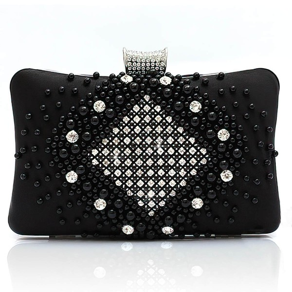 Black Silk Ceremony&Party Pearl Handbags #LDB03160040