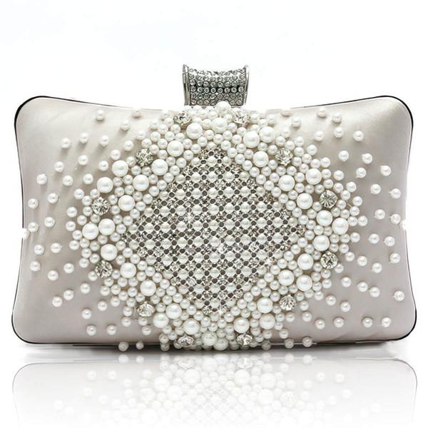 Black Silk Ceremony&Party Pearl Handbags
