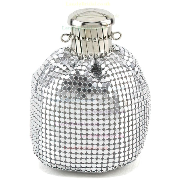 Silver Fabric Casual&Shopping Beading Handbags