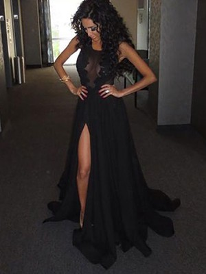 Backless Chiffon Tulle Women Split Front Appliques Lace Scoop Neck Black Prom Dress #LDB02016903