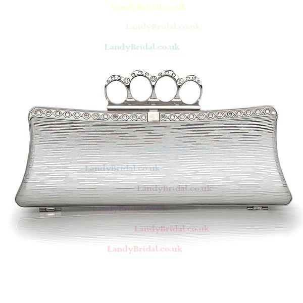 Silver PU Ceremony&Party Crystal/ Rhinestone Handbags