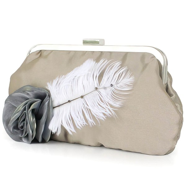 Khaki Silk Ceremony&Party Flower Handbags