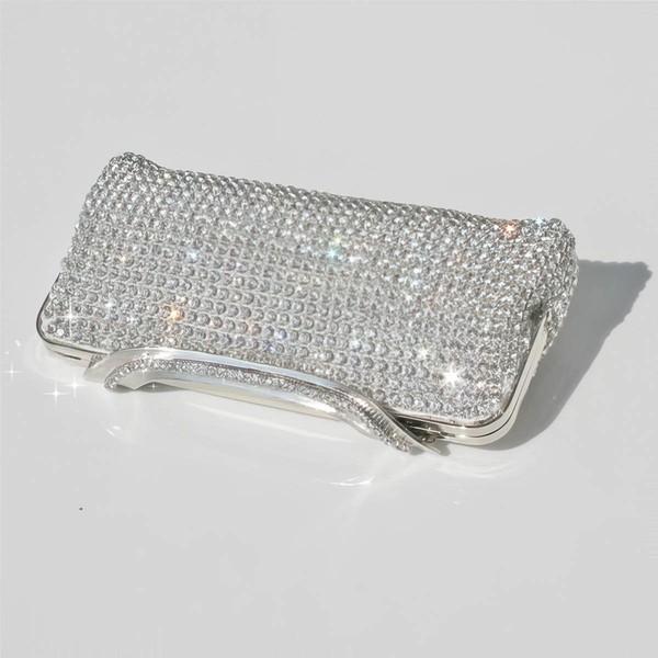 Silver Metal Wedding Crystal/ Rhinestone Handbags