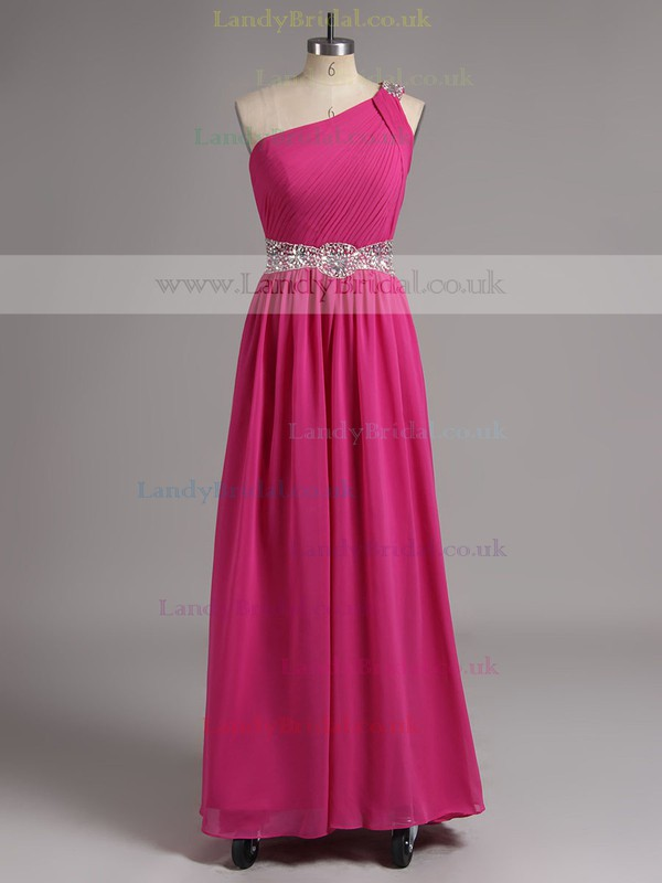 Luxurious One Shoulder Royal Blue Chiffon with Beading Sheath/Column Prom Dress #LDB02014536