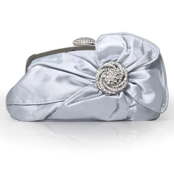 Silver Silk Wedding Crystal/ Rhinestone Handbags