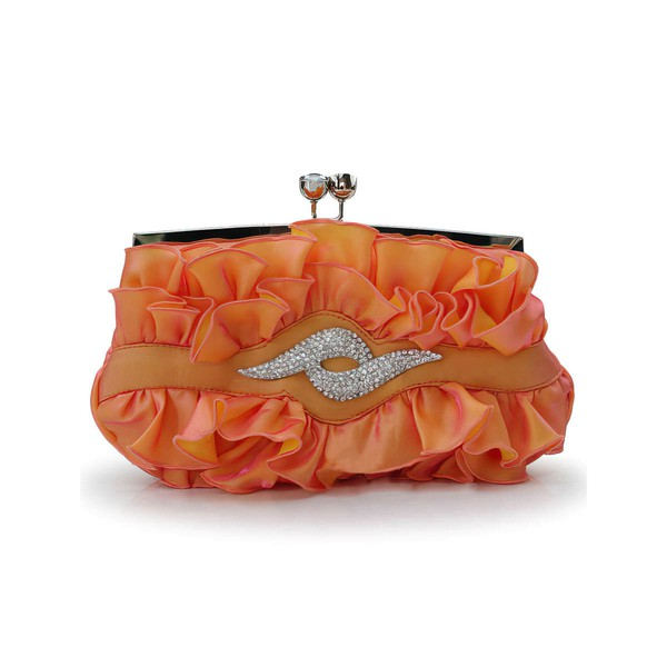 Red Silk Ceremony&Party Ruffles Handbags #LDB03160059