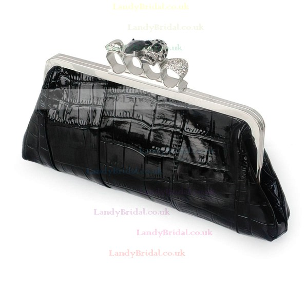 Black PU Casual&Shopping Crystal/ Rhinestone Handbags
