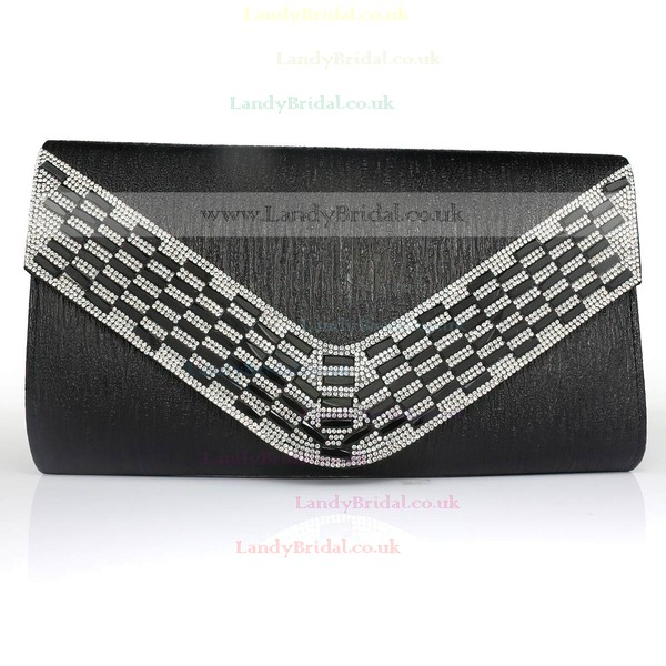 Black PU Office&Career Crystal/ Rhinestone Handbags