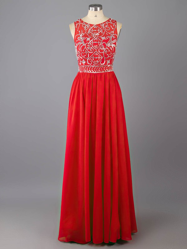 Red Floor-length Chiffon Tulle Beading Scoop Neck Modest Prom Dress #LDB02016976