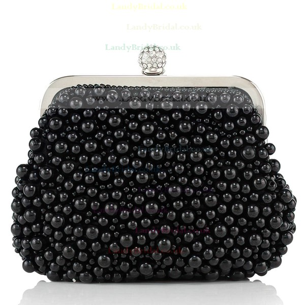 Black Imitation Pearl Ceremony&Party Rhinestone Handbags