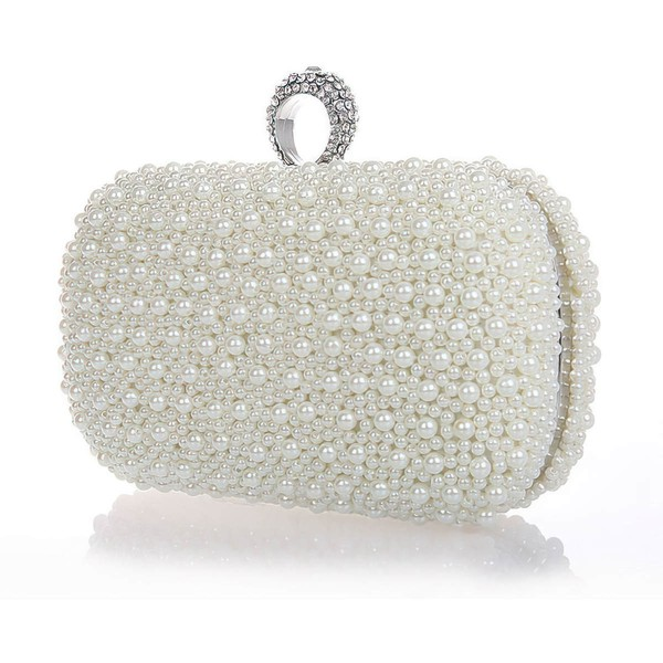 Pink Imitation Pearl Wedding Crystal/ Rhinestone Handbags #LDB03160069