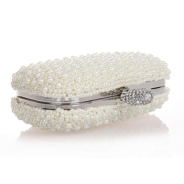Pink Imitation Pearl Wedding Crystal/ Rhinestone Handbags