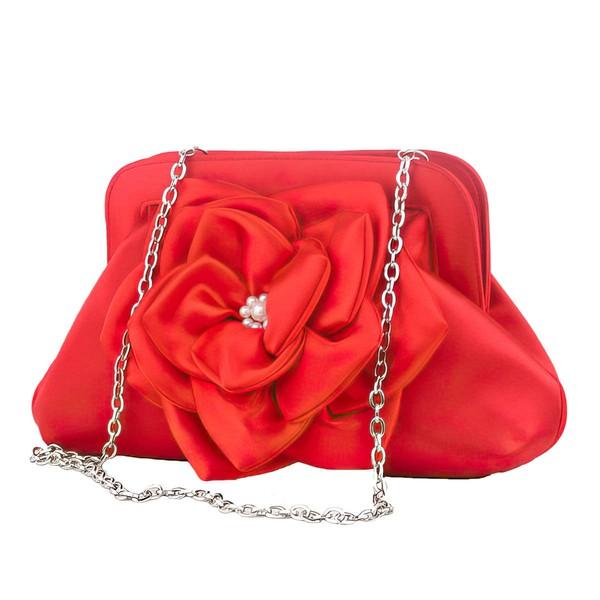 Red Silk Wedding Flower Handbags #LDB03160074